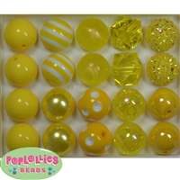 Assorted Styles 20mm Yellow Beads