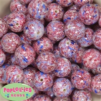 20mm Red and Blue French Impressionism Acrylic Bubblegum Bead