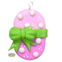 Handmade Easter Egg Pendant Glazed with Glitter