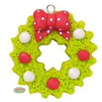 Christmas Wreath Polymer Clay Handmade Pendant