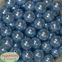 20mm Baby Blue Faux Pearl Acrylic Bubblegum Beads