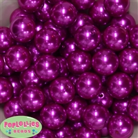 20mm Bright Pink Faux Pearl Acrylic Bubblegum Beads
