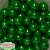 20mm Christmas Green Faux Pearl Acrylic Bubblegum Beads