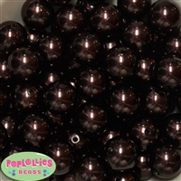 20mm Cocoa Brown Faux Pearl Acrylic Bubblegum Beads