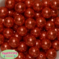 20mm Deep Orange Faux Pearl Acrylic Bubblegum Beads Bulk