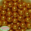20mm Gold Faux Acrylic Pearl Bubblegum Beads Bulk
