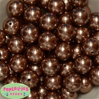 20mm Honey Brown Faux Acrylic Pearl Bubblegum Beads Bulk