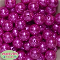 20mm Hot Pink Faux Acrylic Pearl Bubblegum Beads Bulk