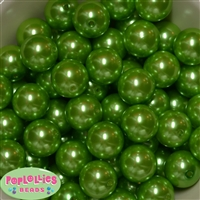 20mm Lime Green Faux Acrylic Pearl Bubblegum Beads