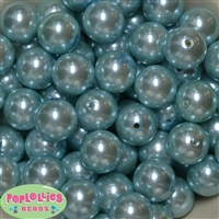 20mm Light Blue Faux Acrylic Pearl Bubblegum Beads Bulk