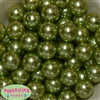 20mm Light Olive Green Faux Acrylic Pearl Bubblegum Beads Bulk