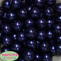 20mm Navy Blue Faux Acrylic Pearl Bubblegum Beads