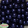 20mm Navy Blue Faux Acrylic Pearl Bubblegum Beads Bulk