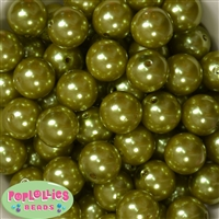 20mm Olive Green Faux Acrylic Pearl Bubblegum Beads