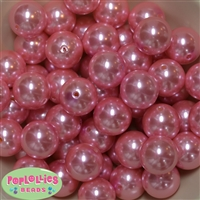 20mm Pink Faux Acrylic Pearl Bubblegum Beads Bulk