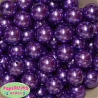20mm Purple Faux Acrylic Pearl Bubblegum Beads Bulk