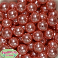 20mm Salmon Faux Acrylic Pearl Bubblegum Bead Bulk
