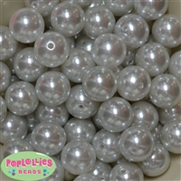 20mm White Faux Acrylic Pearl Bubblegum Beads Bulk