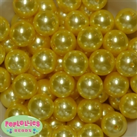 20mm Yellow Faux Acrylic Pearl Bubblegum Beads Bulk