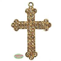 Gold Toned Rhinestone Cross Pendant