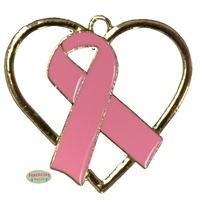 Breast Cancer Pink Ribbon Rhinestone Pendant