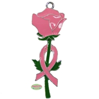 Breast Cancer Ribbon and Rose Enamel Pendant
