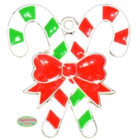 Red and Green Candy Cane Enamel Pendant