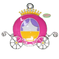 Enamel Pink Princess Carriage Pendant