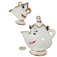 Teapot and Teacup Enamel Pendant and Charm Set