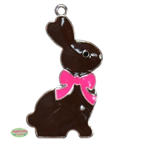 Chocolate Easter Bunny Enamel Pendant 46mm x 29mm