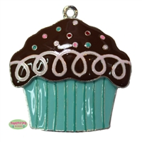 Enamel Decorated Cupcake Pendant