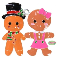 Gingerbread Girl and Boy Enamel Pendant