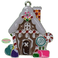 Gingerbread House Enamel Pendant