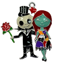 Jack and Sally Enamel Pendant