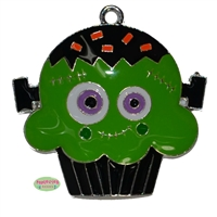 Halloween Monster Cupcake Enamel Pendant