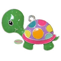 Colorful Polka Dot Turtle Enamel Pendant