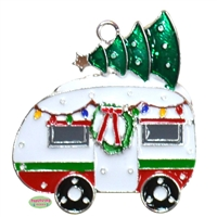 Enamel RV carrying a Christmas Tree Pendant