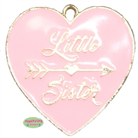 Little Sister Heart Enamel Pendant