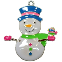 "Enamel Winter Snowman 35mm x 35mm (approx 1.3"")"