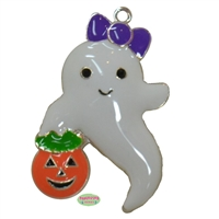 Trick or Treat Ghost Enamel Pendant