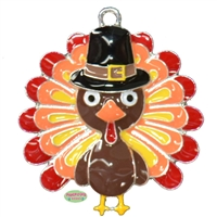 Thanksgiving Turkey Enamel Pendant
