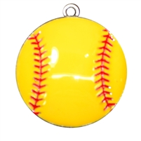 Enamel Yellow Softball Pendant 45mm x 45mm