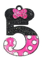 "Hot Pink Minnie Style ""5"" Rhinestone and Enamel Pendant 35 x 25 mm"