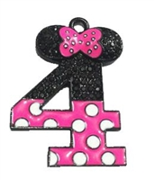 "Hot Pink Minnie Style ""4"" Rhinestone and Enamel Pendant 35 x 25 mm"