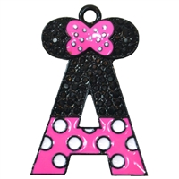 Monogram Minnie Rhinestone Pendant in Hot Pink