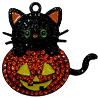 Halloween Cat and Pumpkin Rhinestone Pendant