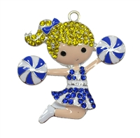 Rhinestone and Enamel Cheerleader Pendant 44mm