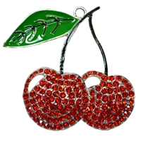 Red Cherry Rhinestone Pendant