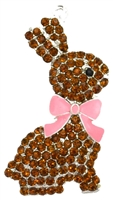 Chocolate Easter Bunny Rhinestone Pendant 46mm x 29mm