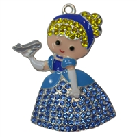 Cinderella with Glass Slipper Rhinestone Pendant